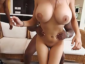 Busty muslim girl with huge boobs gets fucked by two black guys.