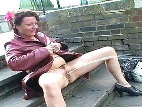 Upskirt public masturbation and nude outdoor flashing of uk mature amateur