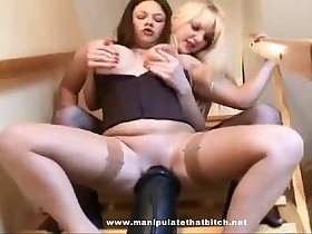 Lesbian Sits On Huge Dildo
