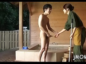 Weenie hungry japanese mature sucks a large dick passionately