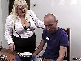 Boss fucks busty blonde secretary in stocking