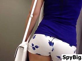 Cute Girl Wearing White Short Shorts