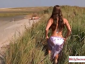 Young Busty Goddess Riding Old Man In A Wild Fuck On The Beach